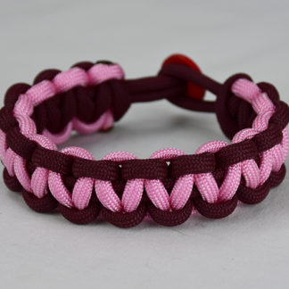 burgundy burgundy and soft pink paracord bracelet unity band with red button back, picture of a burgundy burgundy and soft pink paracord bracelet unity band with red button fastener in the back on a white background