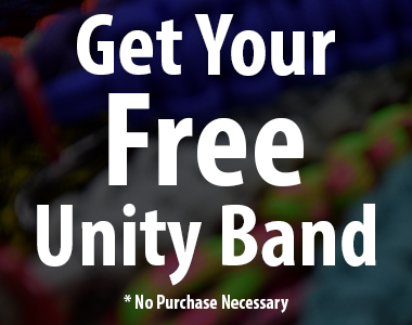 picture with paracord bracelets in the background with a black overlay on top of them that says get your free unity band with no purchase necessary