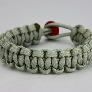 grey paracord bracelet unity band w red button back