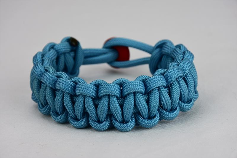 Tarheel Blue Paracord Bracelet | One Color w/ Red Button
