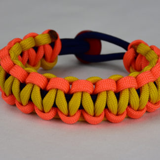 navy blue neon orange and yellow paracord bracelet unity band with red button back on white background, navy blue neon orange and yellow paracord bracelet with red button fastener