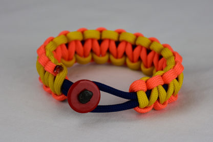 navy blue neon orange and yellow paracord bracelet unity band with red button front