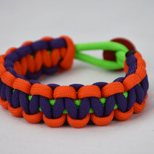 neon green orange purple paracord bracelet unity band red button back