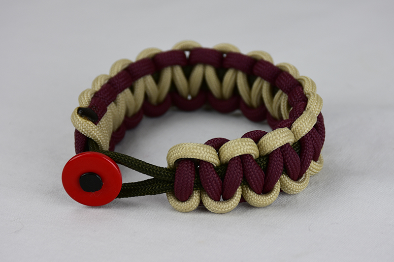 od green desert sand and burgundy paracord bracelet unity band with red button in the front