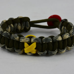 od green desert sand foliage and od green military support paracord bracelet w red button back