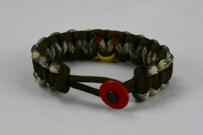 od green desert sand foliage and od green military support paracord bracelet with red button in the front and yellow ribbon