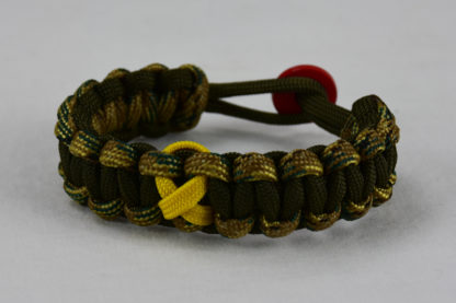 od green multicam camouflage and od green military support paracord bracelet with red button in back and yellow ribbon