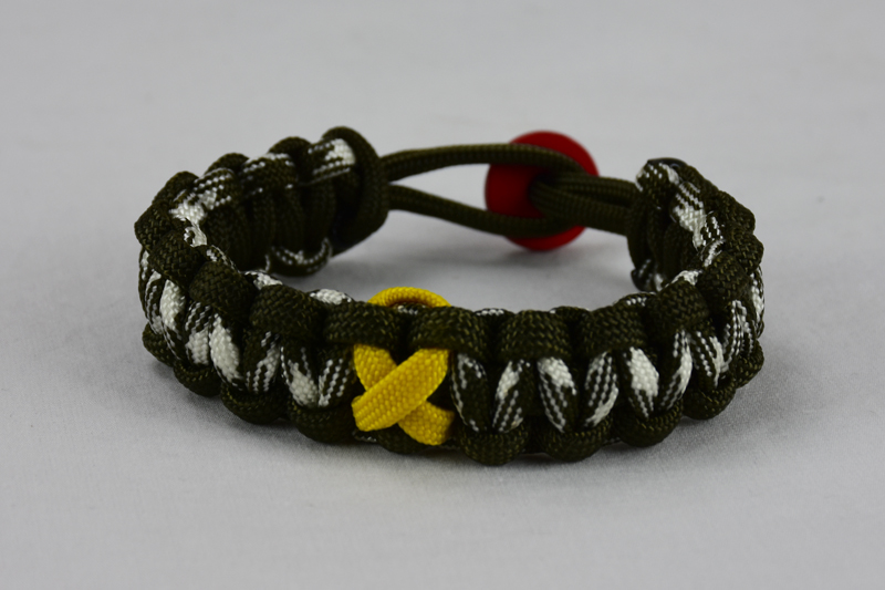 od green od green and od green and white camouflage military support paracord bracelet with red button in the back and yellow ribbon