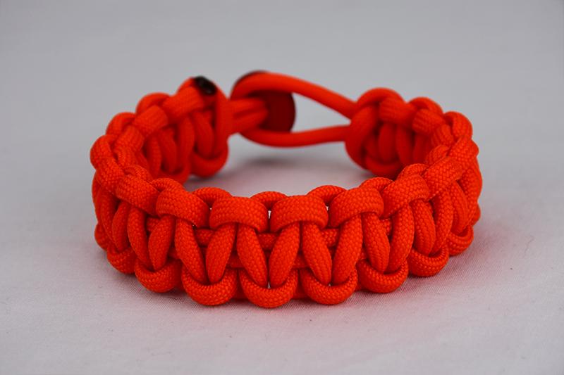 Orange Paracord Bracelet | One Color w/ Red Button
