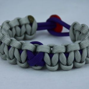 purple and grey alzheimers support paracord bracelet with red button back purple ribbon