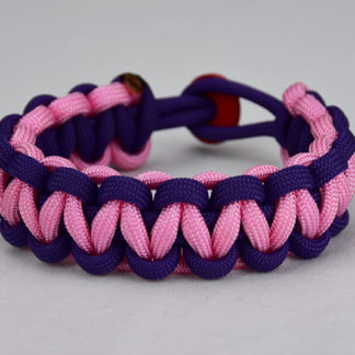 purple purple and soft pink paracord bracelet unity band with red button in back, picture of a purple purple and soft pink paracord bracelet unity band with red button fastener in the back on a white background