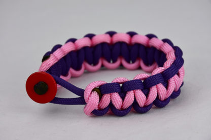 purple purple and soft pink paracord bracelet unity band with red button in front, picture of a purple purple and soft pink paracord bracelet unity band with red button fastener in the front on a white background