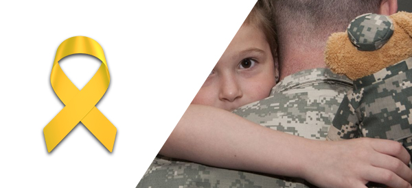 picture of the yellow support the troops ribbon with a soldier hugging his daughter next to it, bracelets for a cause