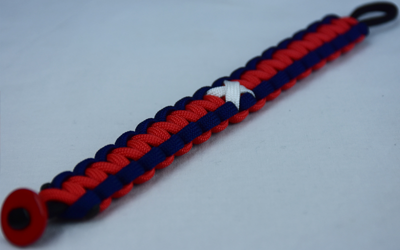 black navy blue and red multiple sclerosis support paracord bracelet with red button corner and white ribbon