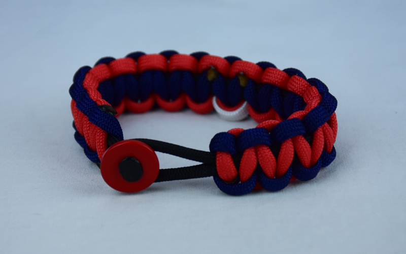 black navy blue and red multiple sclerosis support paracord bracelet with red button front and white ribbon