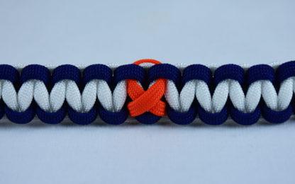 black navy blue and white leukemia support paracord bracelet with orange ribbon center
