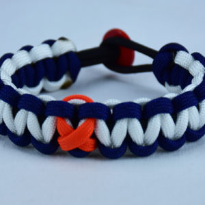 black navy blue and white leukemia support paracord bracelet w red button back orange ribbon