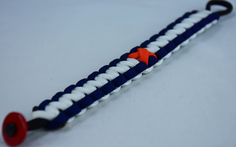 black navy blue and white leukemia support paracord bracelet with red button in the bottom corner and orange ribbon