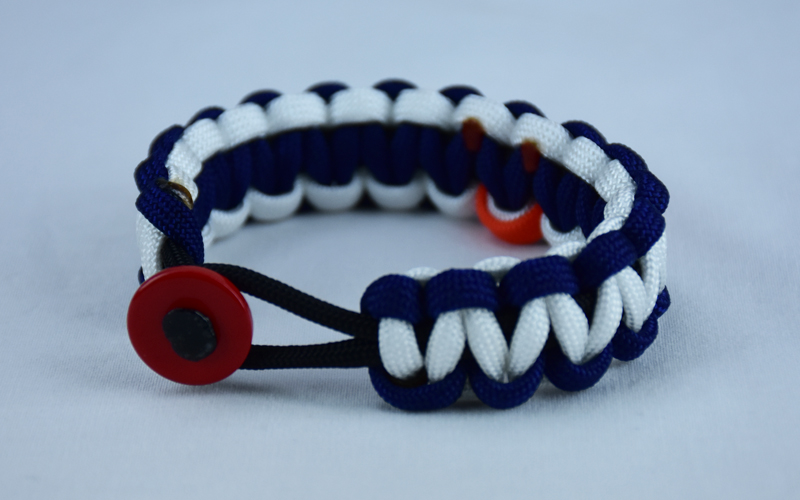 black navy blue and white leukemia support paracord bracelet with red button in the front and orange ribbon