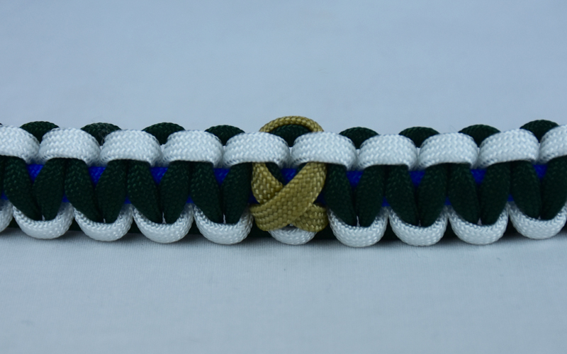 blue white and emerald pediatric cancer support paracord bracelet with center gold ribbon