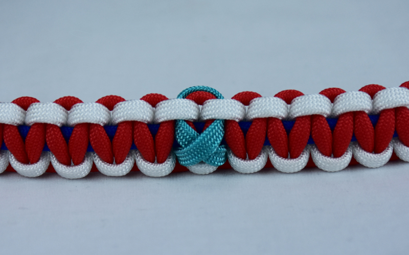 blue white and red ptsd support paracord bracelet with teal ribbon in center