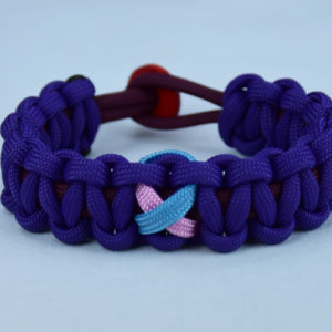 burgundy and purple sids support paracord bracelet w red button back and tarheel blue and pink ribbon