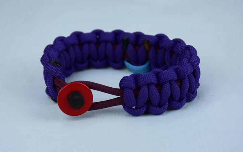 burgundy and purple sids support paracord bracelet with red button front and tarheel blue and pink ribbon