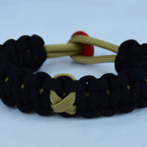 gold and black pediatric cancer paracord bracelet w red button back gold ribbon