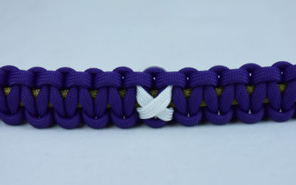 gold and purple multiple sclerosis support paracord bracelet with white ribbon center