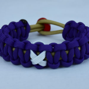 gold and purple multiple sclerosis paracord bracelet w red button back white ribbon