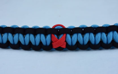 grey black and tarheel blue heart disease support paracord bracelet with red ribbon center
