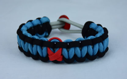 grey black and tarheel blue heart disease support paracord bracelet with red button back and red ribbon