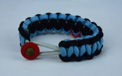 grey black and tarheel blue heart disease support paracord bracelet with red button front and red ribbon