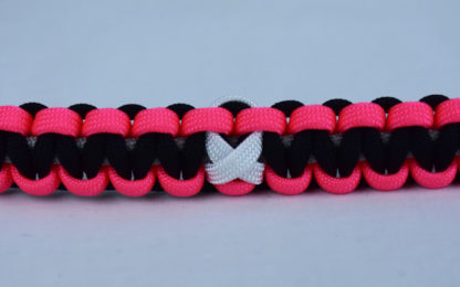 grey pink and black multiple sclerosis support paracord bracelet with white ribbon center