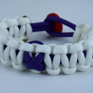 purple and white alzheimers support paracord bracelet w red button back purple ribbon