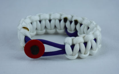 purple and white alzheimers support paracord bracelet w red button front and purple ribbon