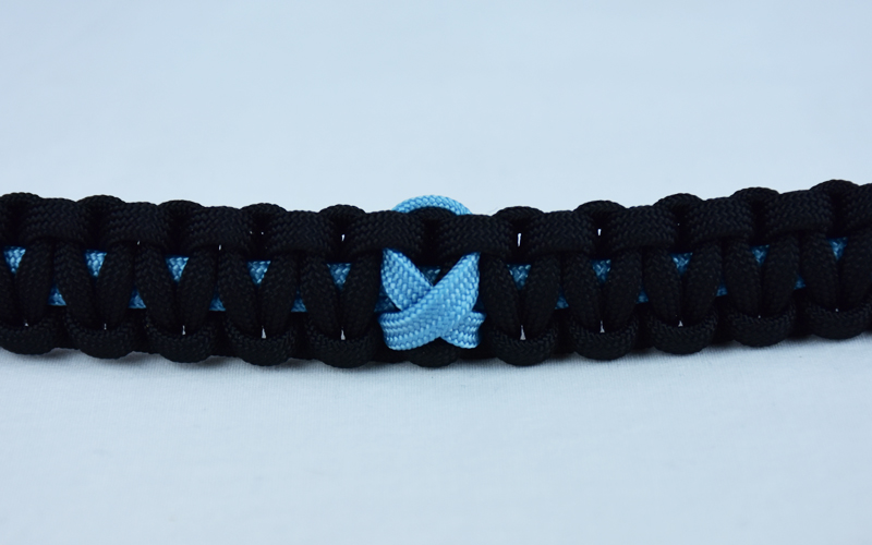 tarheel blue and black prostate cancer support paracord bracelet with tarheel blue ribbon