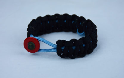 tarheel blue and black prostate cancer support paracord bracelet with red button front and tarheel blue ribbon