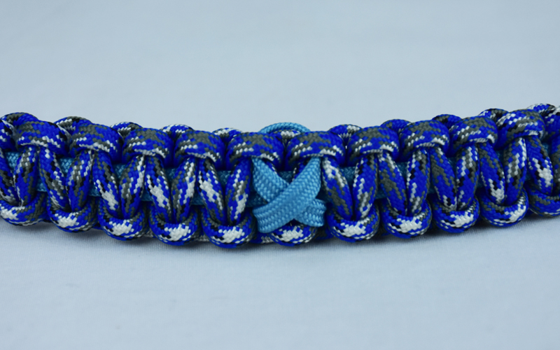 tarheel blue and blue camouflage prostate cancer support paracord bracelet with tarheel blue ribbon