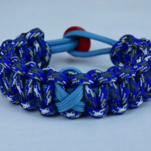 tarheel blue and blue camouflage prostate cancer support paracord bracelet w red button back tarheel blue ribbon