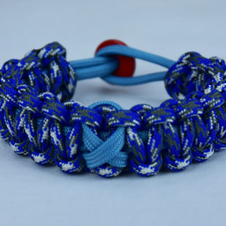 tarheel blue and blue camouflage prostate cancer support paracord bracelet with red button back and tarheel blue ribbon
