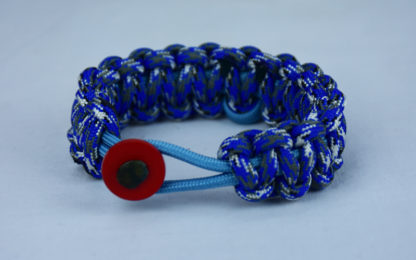 tarheel blue and blue camouflage prostate support paracord bracelet with red button back and tarheel blue ribbon