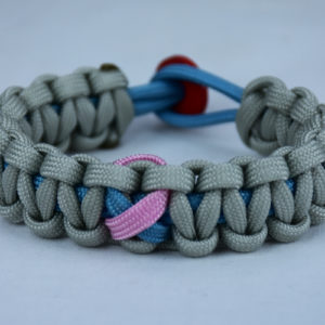 tarheel blue and grey sids support paracord bracelet w red button back tarheel blue pink ribbon