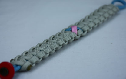 tarheel blue and grey sids support paracord bracelet with red button corner and tarheel blue and pink ribbon