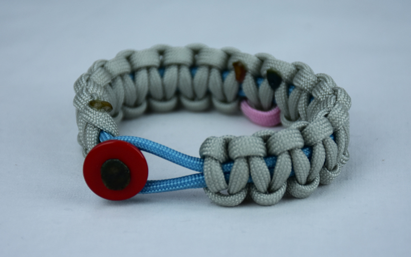 tarheel blue and grey sids support paracord bracelet with red button front and tarheel blue and pink ribbon