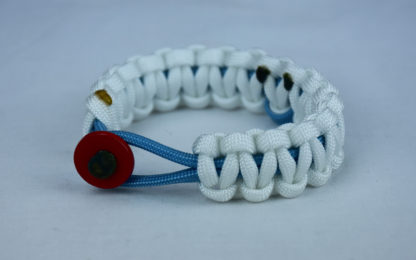 tarheel blue and white prostate cancer support paracord bracelet with red button front and tarheel blue ribbon
