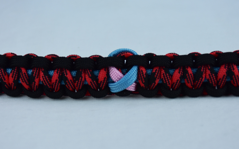 tarheel blue black and red and black camouflage sids support paracord bracelet with tarheel blue and soft pink ribbon in center