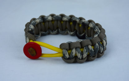 yellow tan and desert sand foliage camouflage pow mia support paracord bracelet with red button front and black ribbon